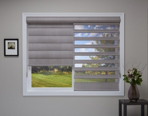 Hunter Douglas Pirouette® Window Shadings in an Opened and Closed Position
