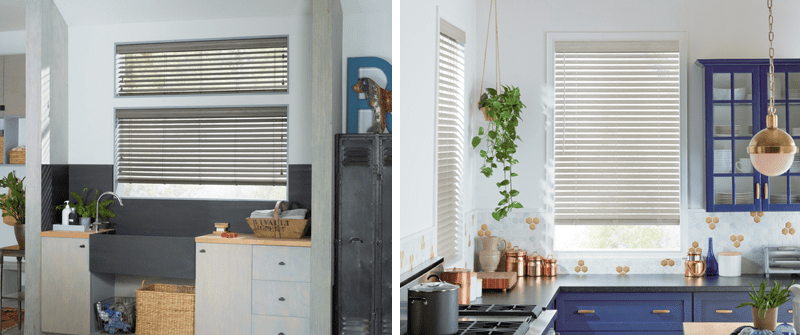 The look of real wood window blinds with modern day materials