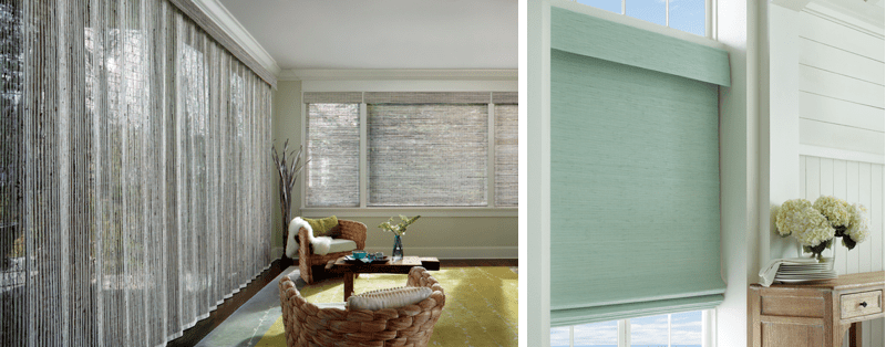 Wood window blinds and drapery