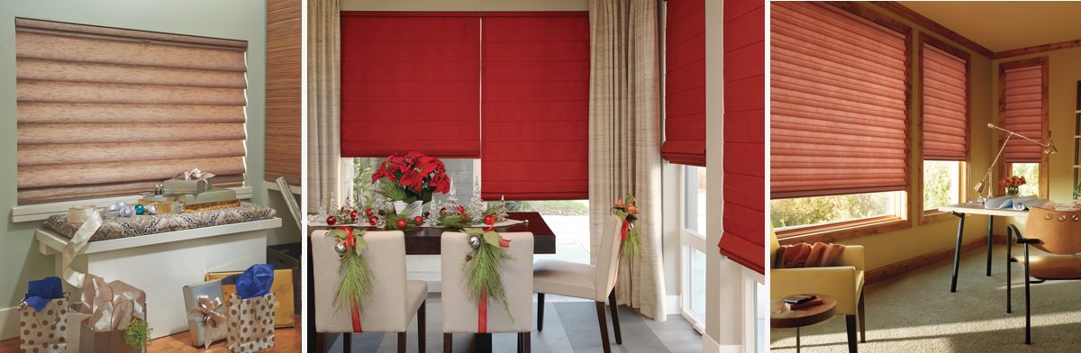Three types of custom roman shades
