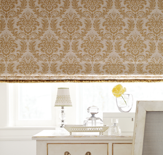 Design Studio Flat Fabric Roman Shade with Trim