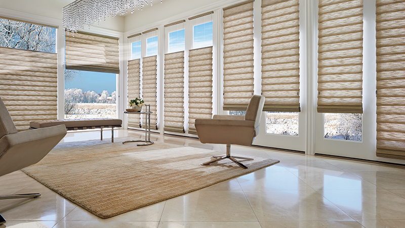 Modern full fold custom fabric roman shades