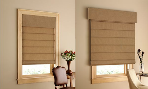 Fabric Roman Shades can be mounted inside or outside of window moldings