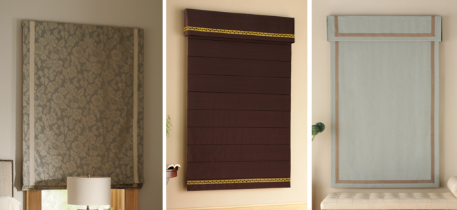 Fabric roman shades can be decorated with tapes and trims